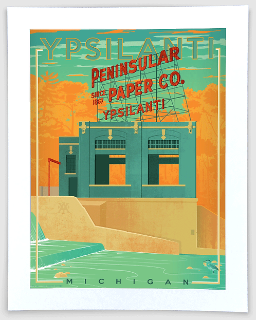 Peninsular Paper, Ypsilanti - Michigan Travel Art Print