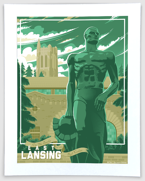 East Lansing - Michigan Travel Art Print