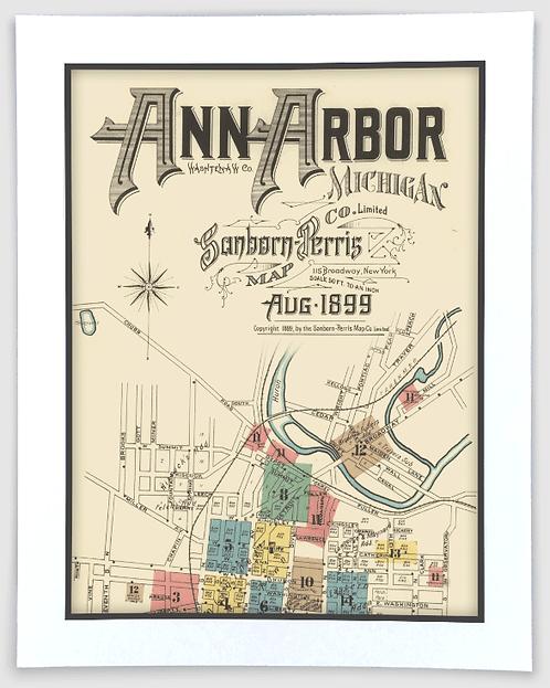 Ann Arbor 1899 Sanborn-Perris Insurance Map Art Poster Print