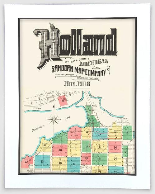 Holland 1908 Sanborn-Perris Insurance Map Art Poster Print