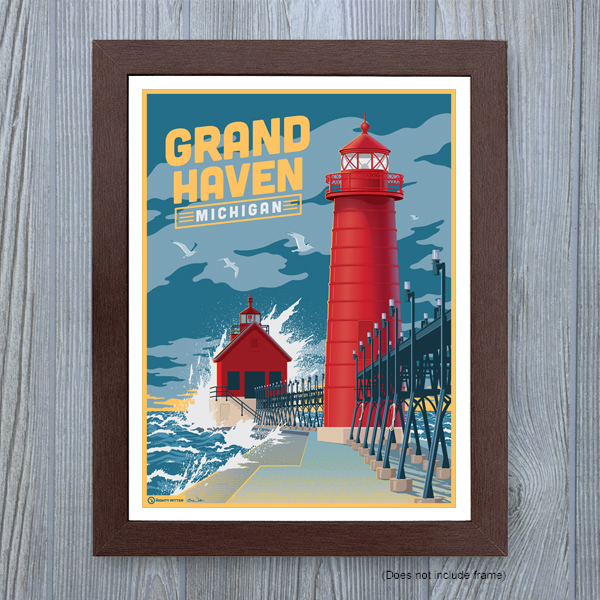 Grand Haven Michigan travel poster