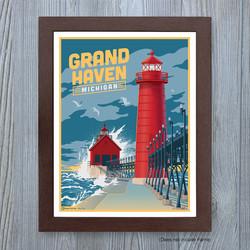 Grand Haven Michigan travel poster