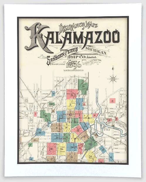 Kalamazoo 1896 Sanborn Insurance Map Art Poster Print