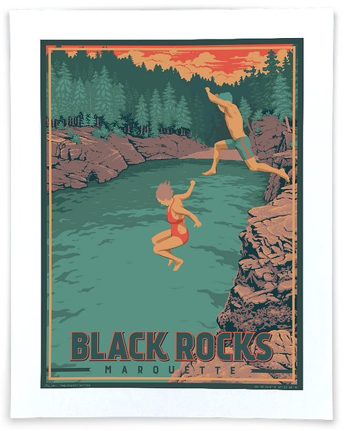 Black Rocks, Marquette - Michigan Travel Art Print