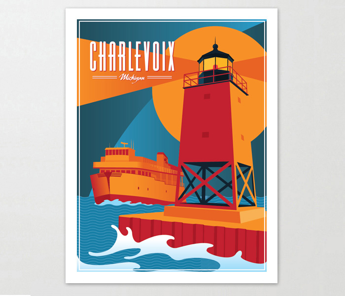 Charlevoix Michigan Travel Poster
