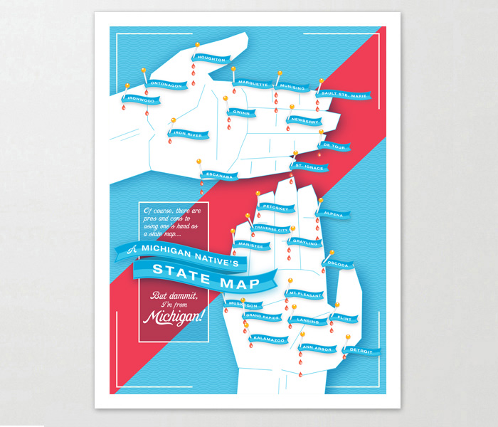 Michigan map poster