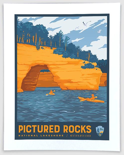 Pictured Rocks (Lovers' Leap) - Michigan Travel Art Print