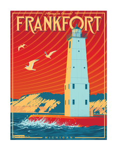 National parks style travel poster of Frankfort, MI
