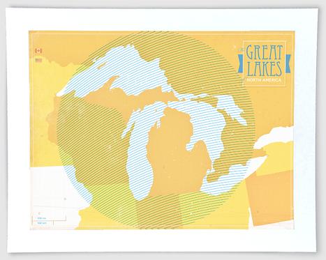 Great Lakes Map - Michigan Art Print