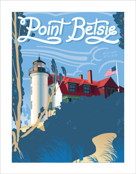 National parks style travel poster of Point Betsie