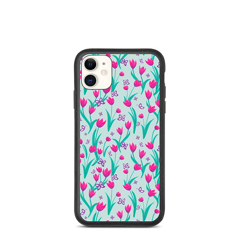 Biodegradable iPhone case - Tulips and Butterflies