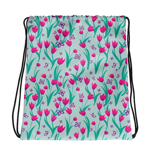Drawstring bag - Tulips and Butterflies