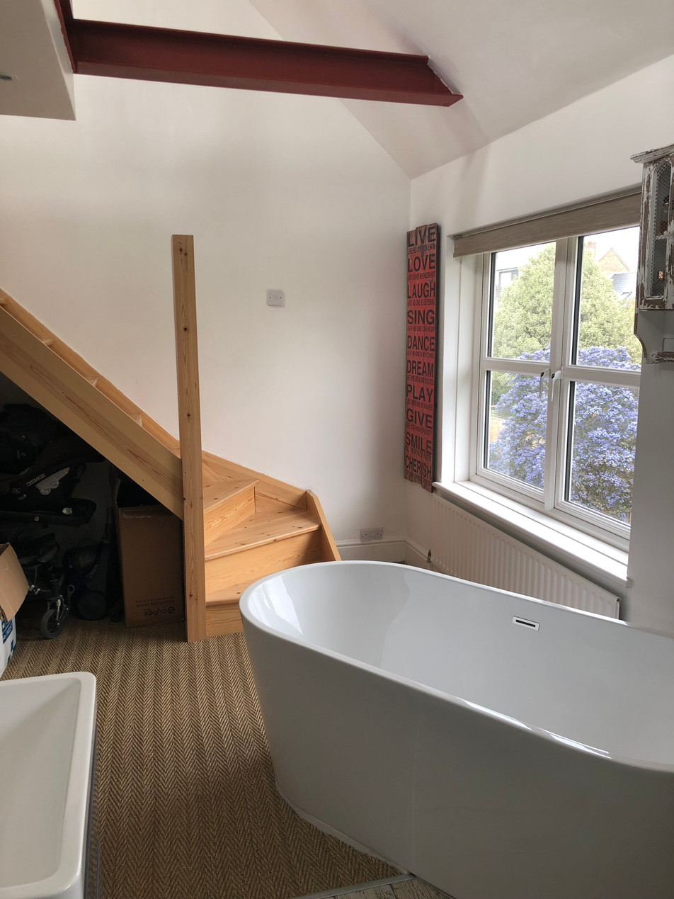 Bath and Staircase in Loft Conversion