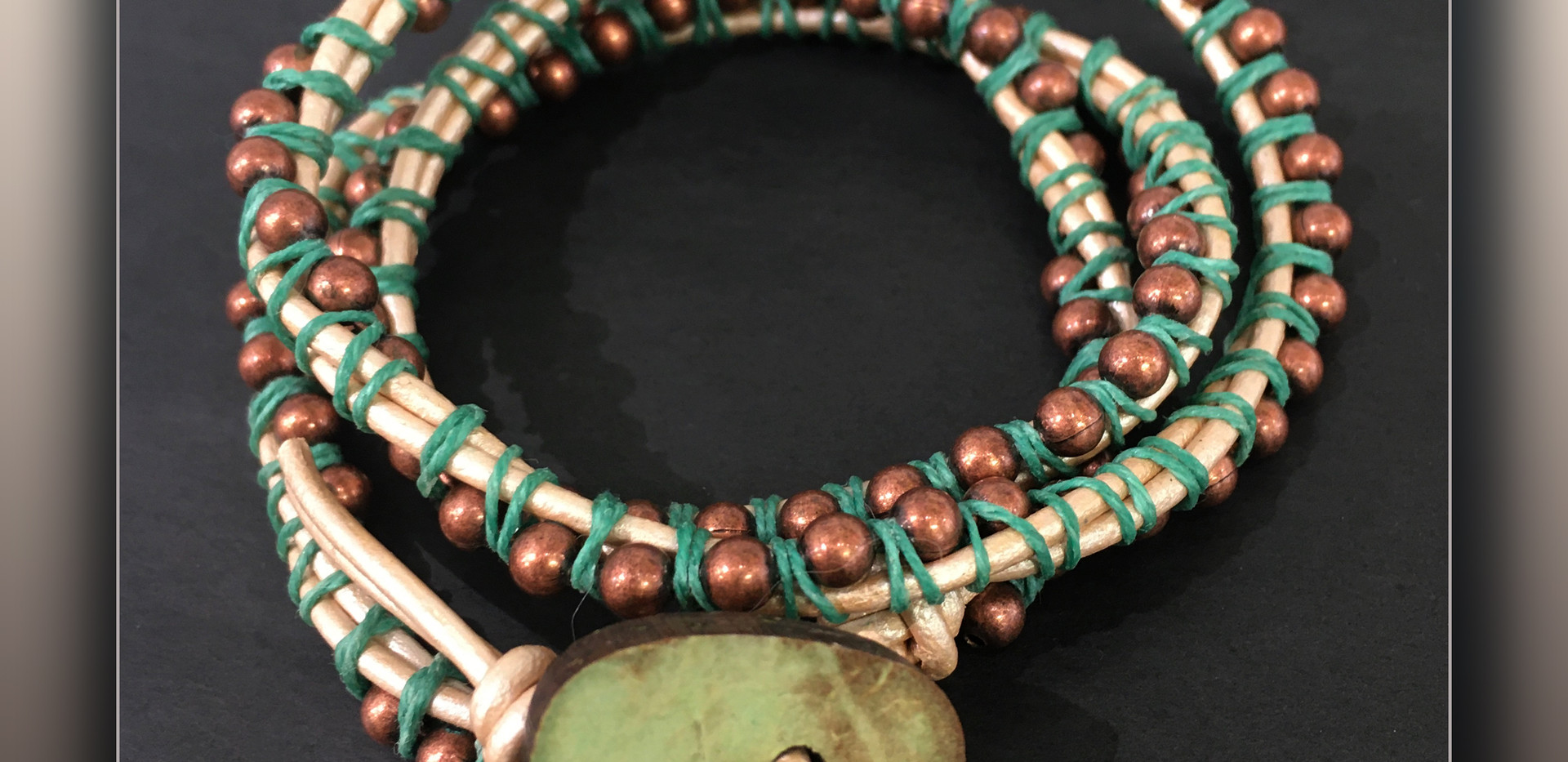 Linen and Leather wrap Bracelet Teal and