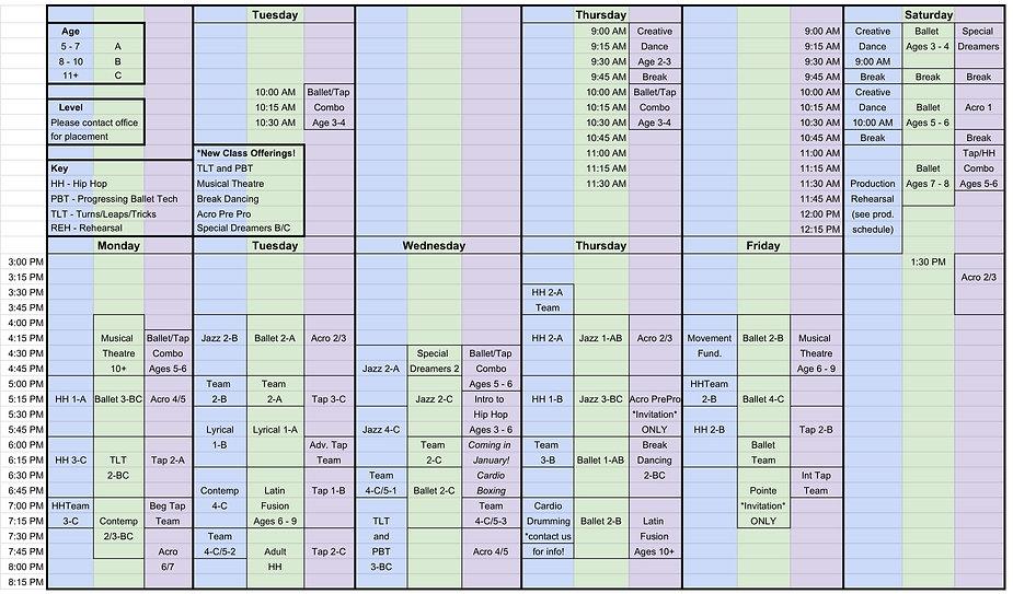 2020 - 2021 Fall Schedule Parents rev. 1