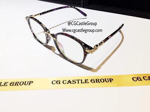 CG Adult Korean Nerd Spec Floral Side Gold Details