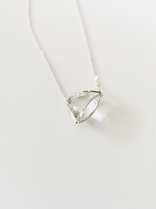 CG Cubic Triangle Crystal Long Necklace