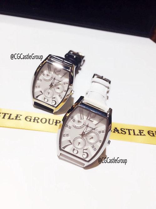 CG Triple-Sub dial Rectangle Watch White Strap
