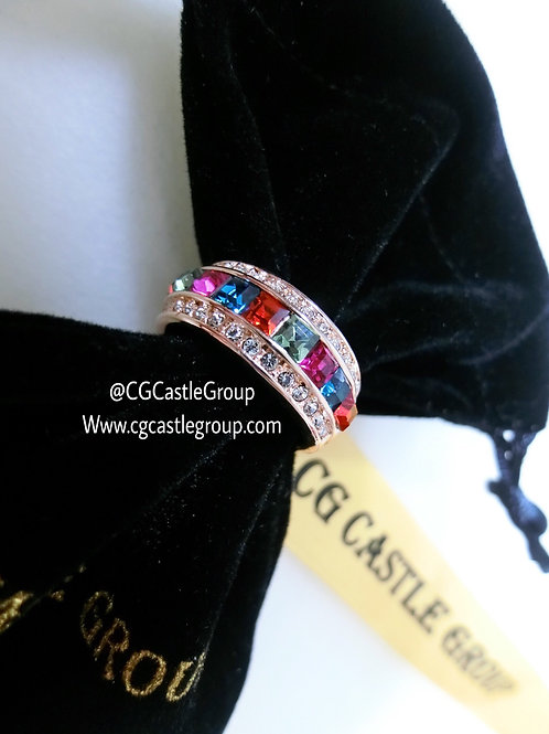 CG Thin Rainbow Crystal Ring