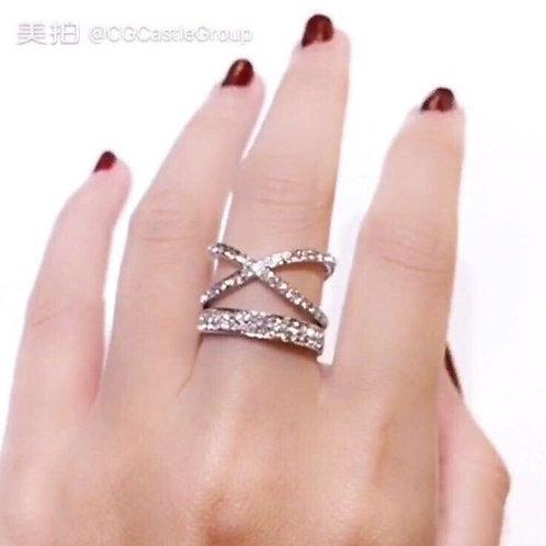 CG Cross Over Crystal Ring