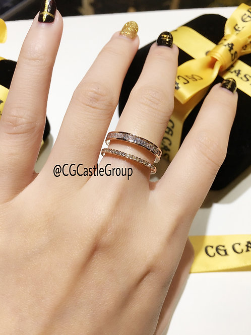 CG Double Line Crystal Ring
