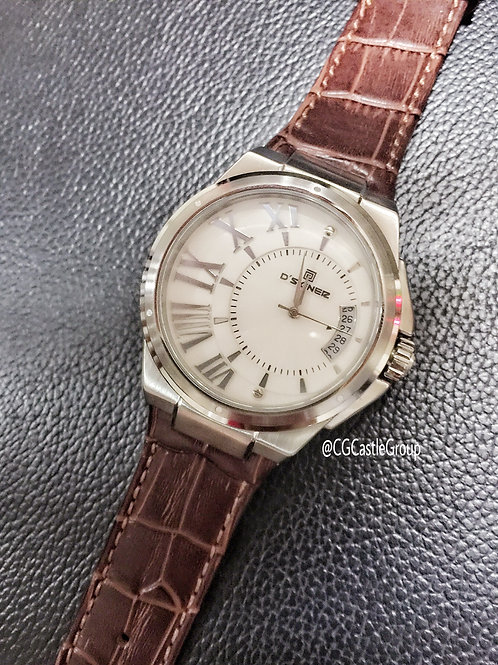 CG Curve Roman Watch Silver Case/Brown Strap