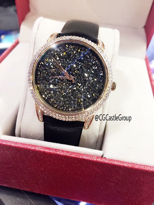 CASTLE Show Off Black/Rosegold Crystal Watch⌚️