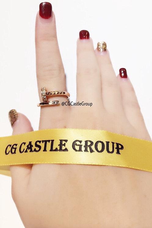 CG Single-Layer Nail Crystal Ring Rosegold