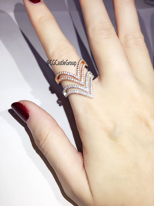 CG Double V Crystal Ring
