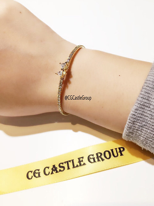 CG Crystal Ribbon Bangle Yellow Gold