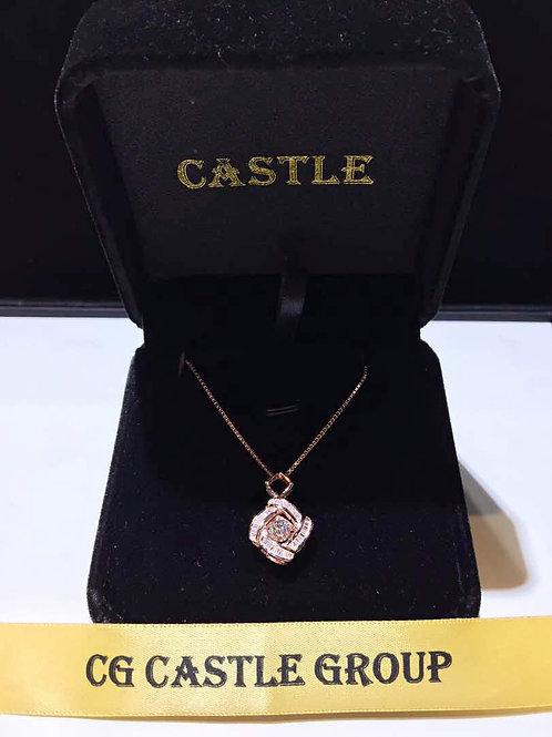 CASTLE HeartBeat Square Baguette Necklace Rosegold