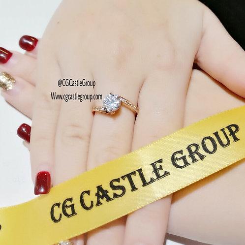 CG Left Right Crystal Ring Rosegold