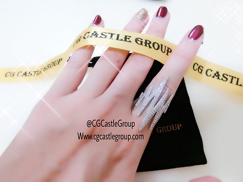 CG Lightning Crystal Ring Silver