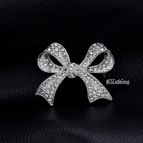CG Rainbow/Silver Crystal Ribbon Brooch