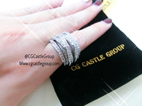 CG Thick CrossOver Crystal Ring