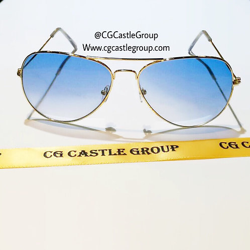 CG Adult See Through Aviator Gold Frame/Blue Lens