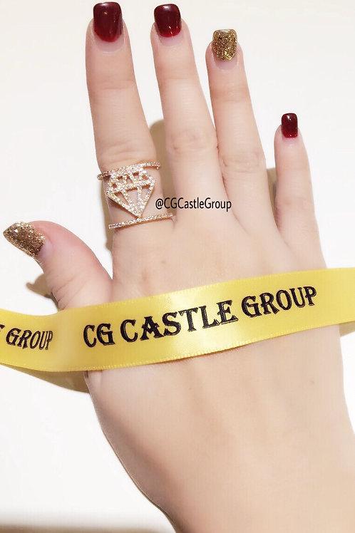 CG Diamond Shape Crystal Ring Rosegold