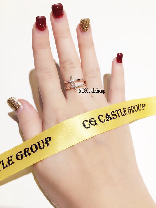 CG Double T Crystal Ring Rosegold
