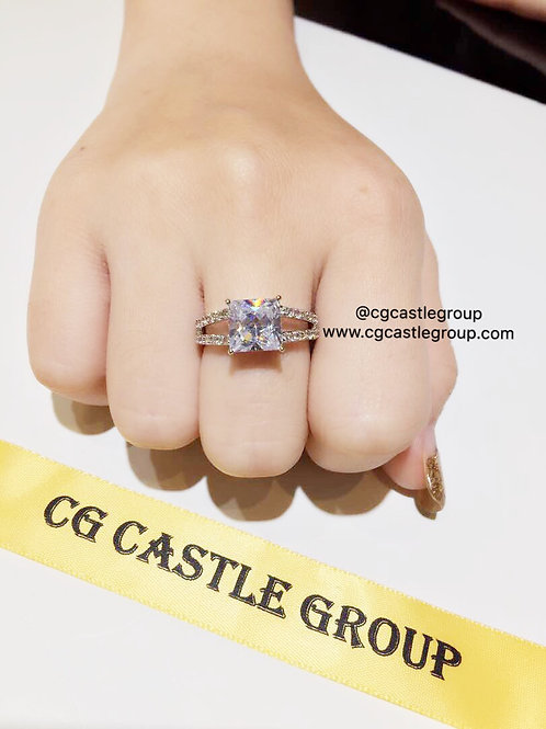 CG Double Layer Square Solitaire Ring