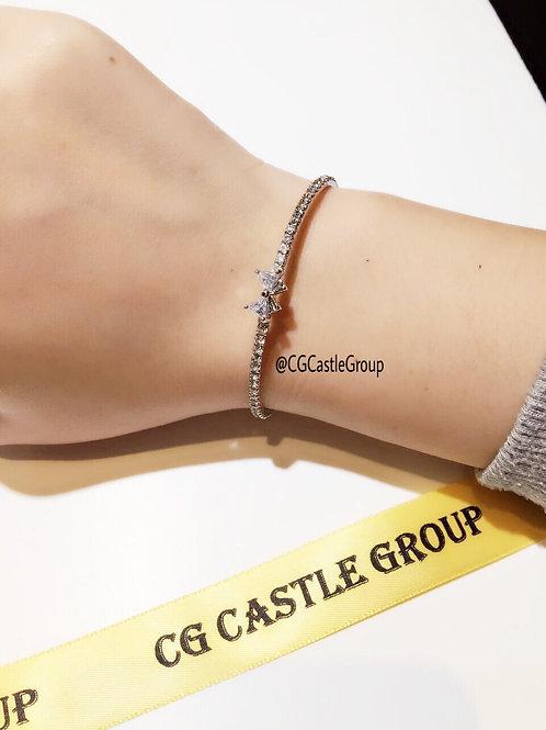 CG Crystal Ribbon Bangle Silver