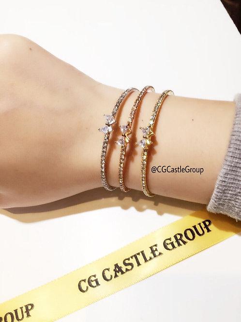 CG Crystal Ribbon Ring Rosegold