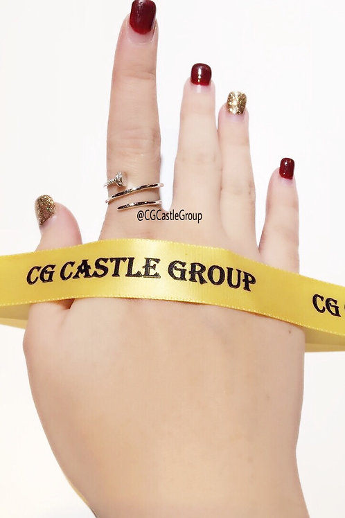 CG 3-Layer Nail Crystal Ring Silver