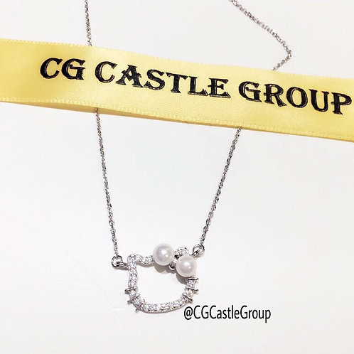 CG Two Pearl Kitty Necklace