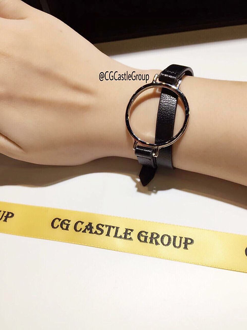 CG Round Korean Leather Bracelet Black