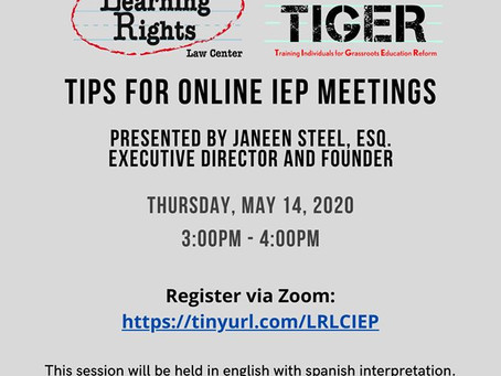 Tips for Online IEP Meetings - May 14th 3:00pm