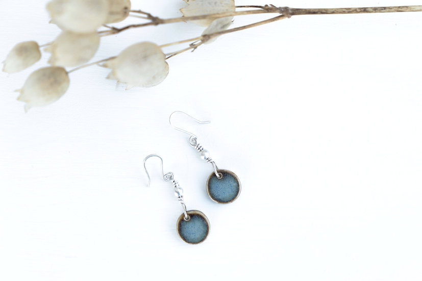 Porzellan Ohrhänger blau/Kreis