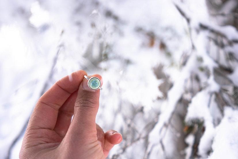 Silberring mit eingefasstem Porzellanstein türkis/rund