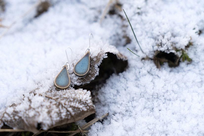 Porzellan Ohrhänger blau/Tropfen