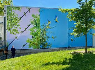 L'oiseau bleu, 2021, Toiles urbaines à l'ONU Genève © 1m83 Art