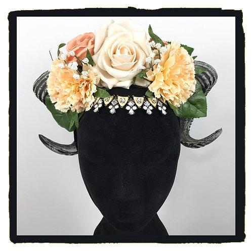 Cream jewelled rams horns